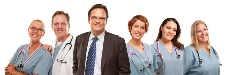 Friendly Male and Female Doctors with Businessman on White