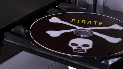 Pirated disc in player, in and out