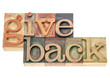 give back words in wood type