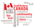 Small Business Canada word cloud, Canadian flag, main street