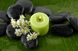 white flower and zen stones with green candle on banana leaf