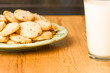 Cookies on plate with milk