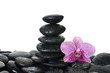 stones stack in balance with orchid flower with water drops