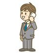 ビジネスマン 表情 全身 イラスト 電話