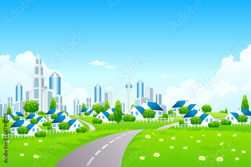 Green Landscape with City and Small Villarge