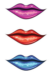 Woman lips of different colors