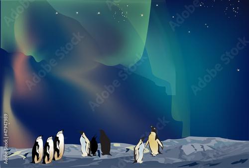 penguins in ice desert landscape