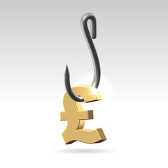 Phishing money metaphor concept illustration