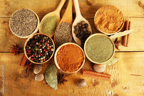 bowls and spoons with spices, on wooden background