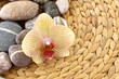 Pebble stones and beautiful orchid on woven mat
