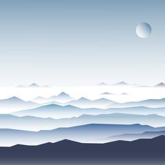 Stock Vector Illustration: mountain ridges