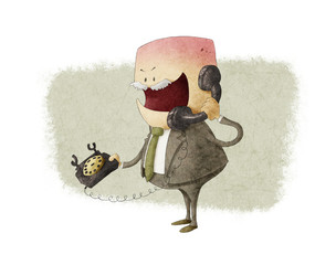 Angry businessman calling by phone