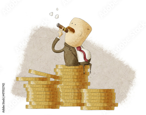 rich boss sitting on a pile of coins - 47952742