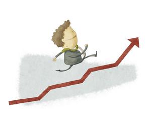 Businessman run in a Growth