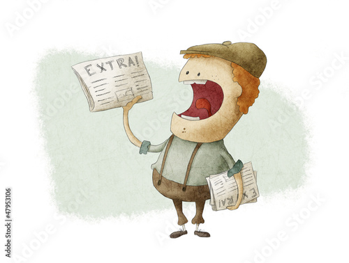 Retro Newsboy Selling Newspapers - 47953106