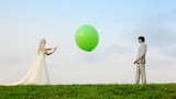 Newly married play meadow with each other inflatable sphere