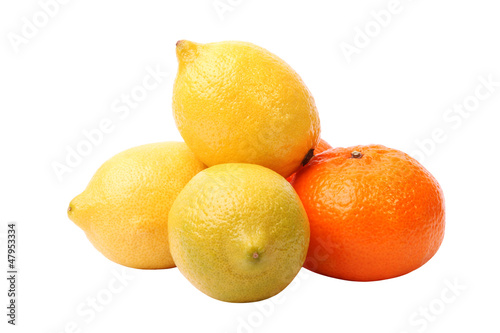 lemons and tangerine on the white background
