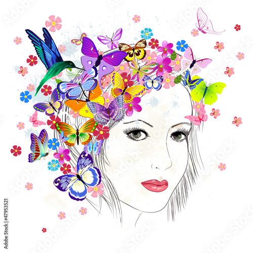 Foto op Canvas Bloemen vrouw girl drawing butterfly