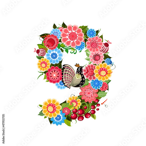 Flower number with birds in Khokhloma style © Aloksa