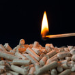 Pellets with fire on a black background_IV