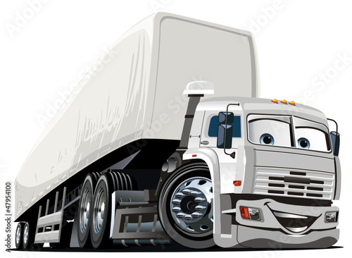 Vector Cartoon Semi Truck