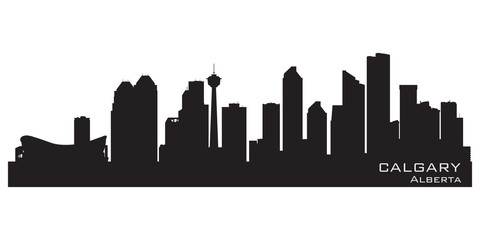 Calgary, Canada skyline. Detailed silhouette