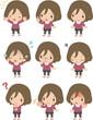 女性の表情のセット(全身)