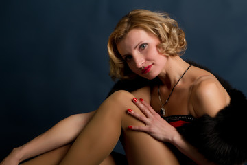 beautiful blonde girl in a red dress