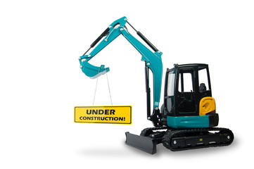 isolated excavator carry under construction sign