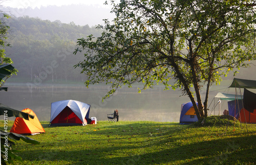 Tents in recreation area near the reservoir, Thailand.