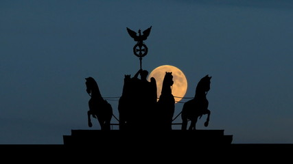 Germany The Brandenburg Gate sculpture moonrise
