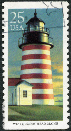 USA - 1990: shows West Quoddy Head, Maine, series Lighthouses