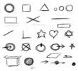 Set  hand drawn shapes, circle, square, star, triangle