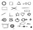 Set  hand drawn shapes, circle, square, star, triangle