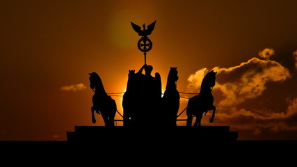 Germany The Brandenburg Gate sculpture sungliding
