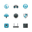 Network icons. Azzurro series