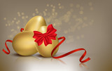 Fototapety Golden Easter eggs on background vector illustration