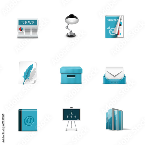 Office icons. Azzuro series