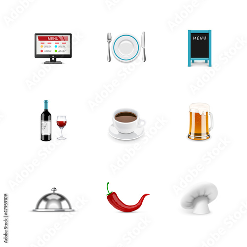 Restaurant icons. Azzurro series