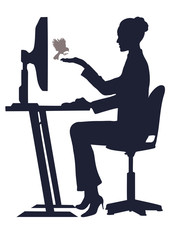 girl at the computer feeds a bird