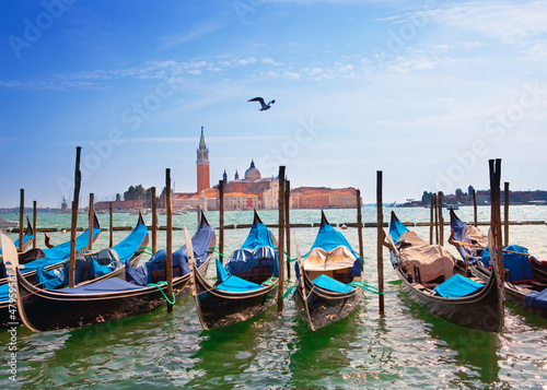 Italy. Venice. Gondolas in the Canal Grande..