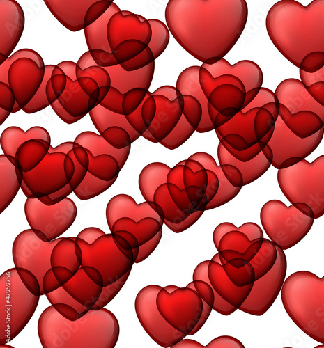 Red love seamless background of heart bubbles.