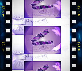 Old film strip and film countdown