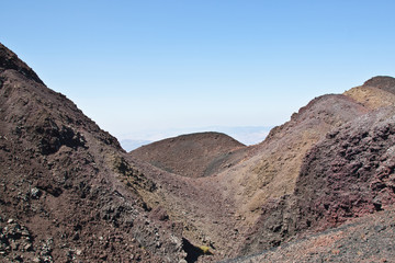 from one side of the volcano