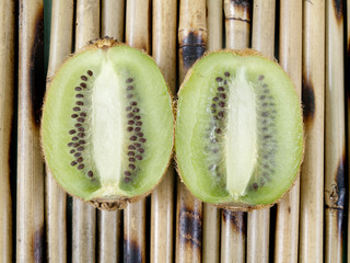 two halves of a kiwi