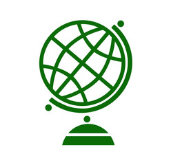 Geography earth globe icon in green color