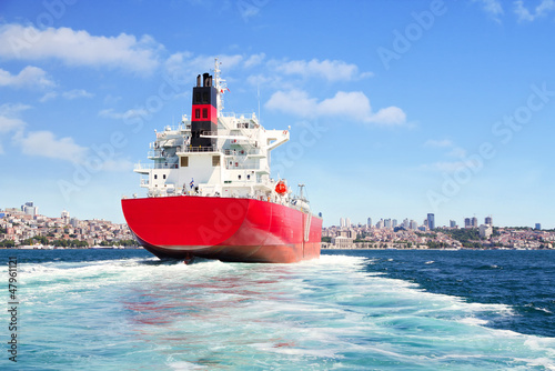 Cargo ship sailing in to sea