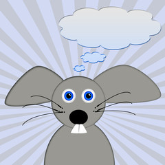 sweet little gray mouse with place for text