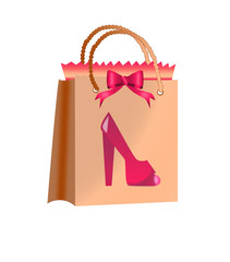 funny shopping-women shoe on a shopping bag