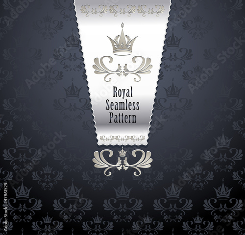 Royal seamless pattern with crown or Royal background